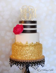 glam cake with monogram